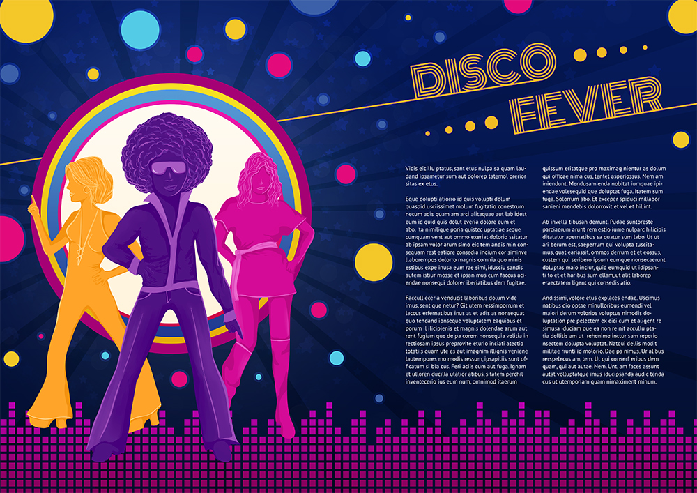Disco Fever - Double Page Spread Design