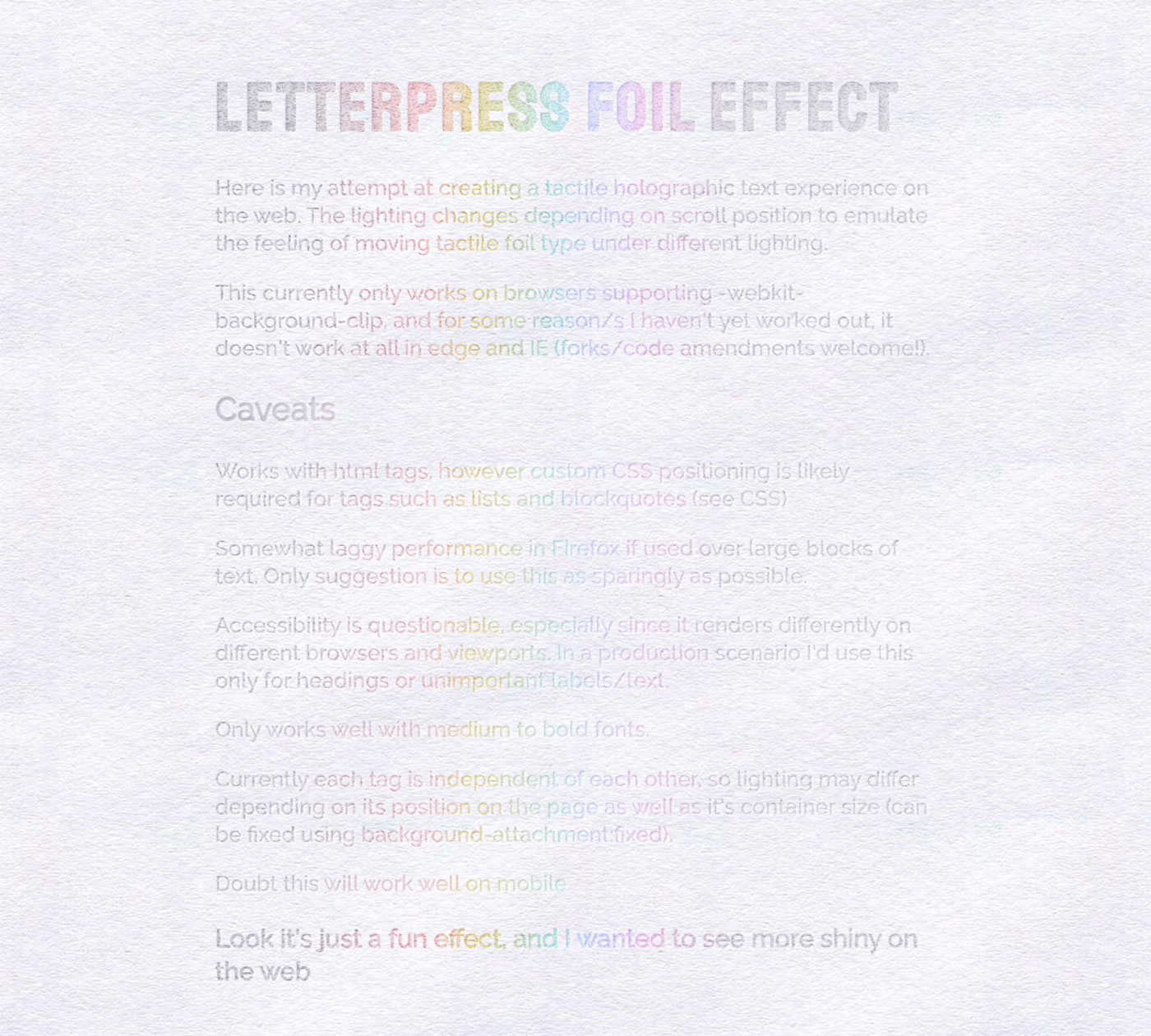 Iridescent letterpress text effect